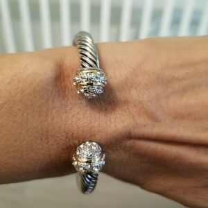 Brand new Silver Bracelet With pave crystal stones